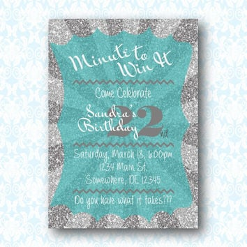Minute to Win It Printable Digital Birthday Invitation.  Available in any color!  DIY Birthday Invitation.  PDF invite.