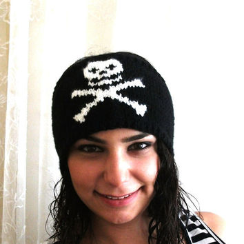 Handmade women headband skull headband hair head skull ear warmer by accessories knitted hair headband