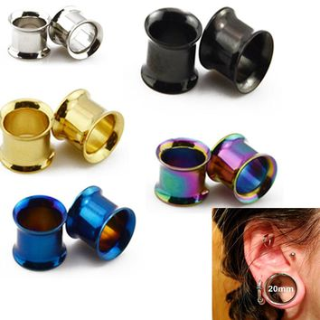Showlove-1pairs Mixed Color Stainless Steel Internally Thread Ear Guage Expanders Tunnel Plugs Body Piercing Kit