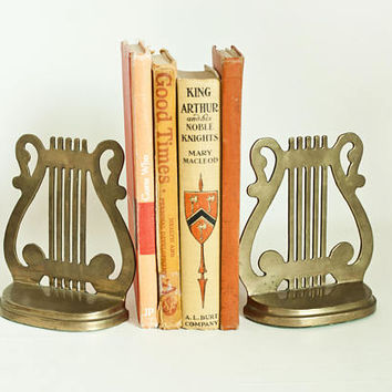 Vintage Brass Harp Lyre Bookends, Music Stand Shape Book Ends, Music Room Decor
