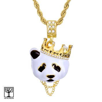 "Jewelry Kay style Men's Iced Crown Panda 14K Gold Plated Pendant 24"" Rope Chain Necklace HC 1167 G"