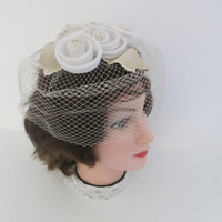 Vintage White and Ivory Veiled Formal Hat With Floral Embellishment Bridal Accessory