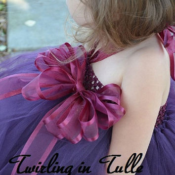 Flower Girl Dress Eggplant/Purple Tulle Flower Girl Dress  Size 2 - 4T