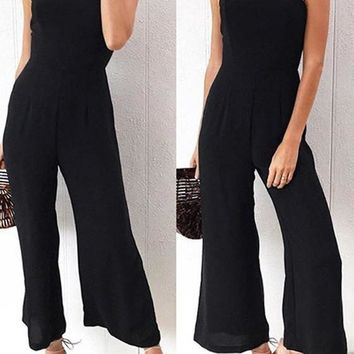 Black Spaghetti Strap Backless Wide Leg Palazzo Pants Zipper Long Jumpsuit