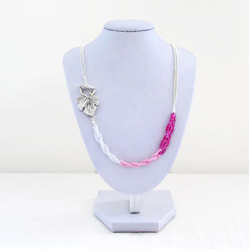 Pink beaded necklace, Pink ombre seed beads, bead and chain necklace, unusual jewelry, Christmas gift for her, handmade in the UK