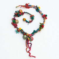 Long ethnic necklace, colorful mixed media jewelry, OOAK statement necklace