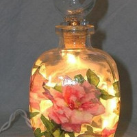 #4 Pink Roses Perfume Bottle Nightlight ( Night Light )