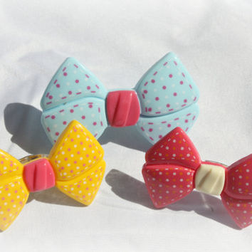 KITSCH ROCKABILLY bow ring blue yellow pink by DeathwishDesign