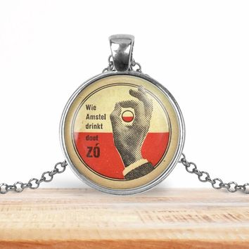 Vintage product label photo pendant - Wie amstel drinkt doet - foodie necklace, beer necklace