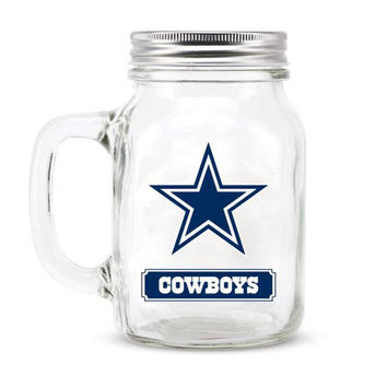 Dallas Cowboys NFL Mason Jar Glass With Lid