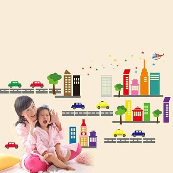 Hot Sale 2016 wall stickers for kids rooms City Car Nursery Kid Glow in Dark Luminous Mural Wall Sticker Decal XT