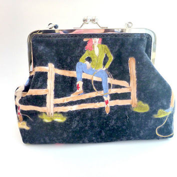 Clutch, purse, handbag, Western Chic, Rockabilly, cowgirl, silver horse pin, flannel, beaded strap