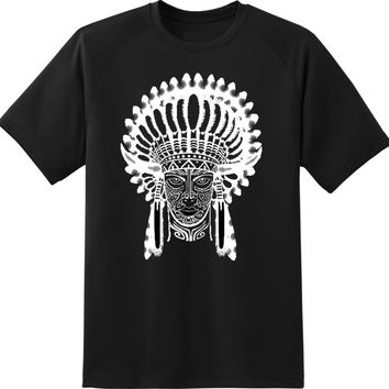 indian chief wearing traditional headdress white and black t shirt woman size --- XS ----- 3XL Printing t shirt