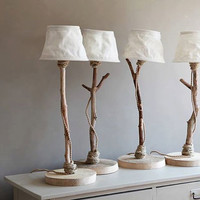 Table lamp from driftwood, oak wood, rope, and sailcloth lampshade
