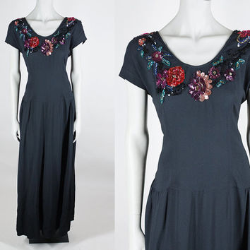 Vintage 40s Dress / 1940s Designer Eisenberg Original Sequined Black Rayon Crepe Low Back Gown L