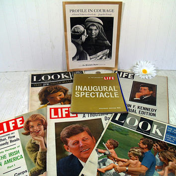 Collection of John F. Kennedy Memorabilia & Ephemera 11 Piece Collection Magazines, Inserts, Memorials, Souvenir Editions from 1960 - 1965