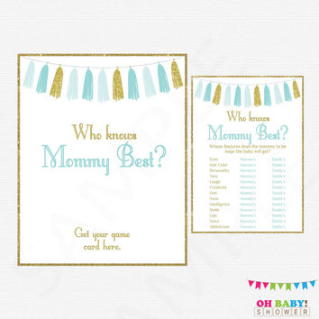 Who Knows Mommy Best, Blue and Gold Baby Shower Printables, Baby Shower Games, Instant Download, Baby Shower Boy Blue and Gold Tassels TASBG