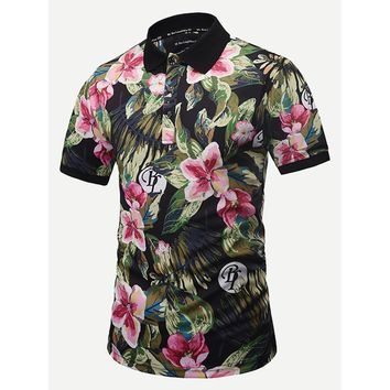 Men Letter And Floral Print Polo Shirt