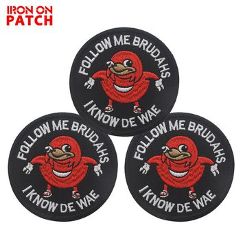 Ugandan Knuckles Follow Me Brudahs I Know De Wae Vest Patch DIY Tactical Badges For Backpack  Black Meme Military PATCH
