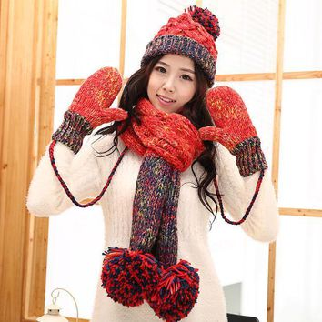 CREYU3C Knitted hat scarf gloves female winter thermal knitted set women's piece set christmas gift