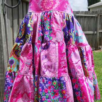 Crazy Love Patchwork Twirl Boho Dress Size 6 Three Tiers Two Layers Tie Back Adjustable Straps Handmade Ready to Ship