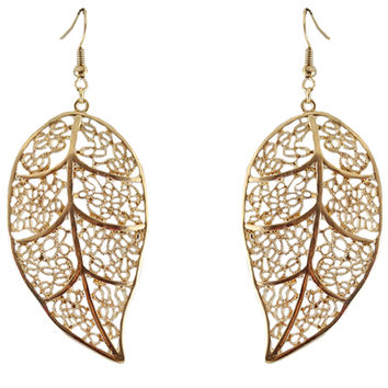 Alloy Hollow Out Golden Leaves Earings