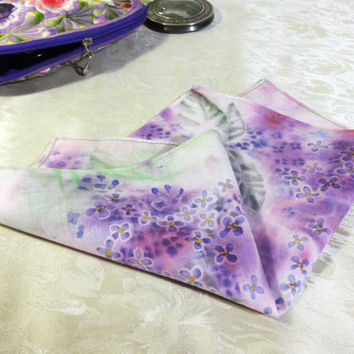 "Square Pocket Cotton Handkerchief. Hand-painted Lilac flowers hankie. Womens, Ladies Unique Hanky. Batik. Floral. 25x25cm,~10x10"". Ready"