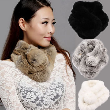 2013 women's autumn and winter scarf  knitted rabbit fur scarf with ball