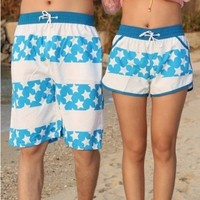 Sweetly Lovers beach pants stars stripe white shorts in summer
