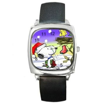 Christmas Snoopy and Woodstock in a Tree on a Silver Square Watch with Leather Band= Ships From Hong Kong