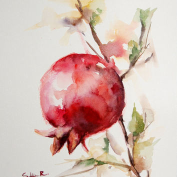 Red Pomegranate Branch, Original Watercolor Painting - The Last One