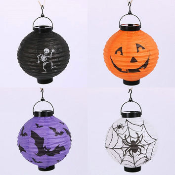 20CM Halloween Party Decoration Lanterns Skull Bones Bat Spider Pumpkin LED Light Portable Hanging Paper Lantern Lamp VBT88P50