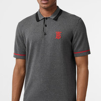 BURBERRY 2019 new exclusive logo pattern striped cotton short-sleeved polo shirt grey