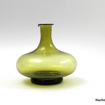 1960s Wine Carafe Vintage Pitcher, Blown Glass, Olive Green
