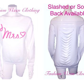 Fashion Vixen Pink Mrs. Heart Off the Shoulder White Sweatshirt (solid or slashed back available) XS S M L XL and Plus Size 1x 2x 3x 4x 5x
