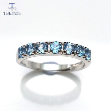 TBJ,Engagement Wedding Ring with Natural Blue Topaz  Round3.0mm Brand jewelry in 925 Sterling Silver,best gift for Women & girls