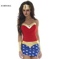 Kimring Sexy Women Halloween Costume Roma Super Heroine Hottie Captain Carnival Fantasias Superwoman Cosplay Adult Costumes