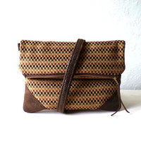 Clutch, handbag,  fold over clutch, checkered chenille fabric and faux suede, detachable strap, earthy tones, Ready To Ship.