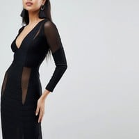ASOS Long Sleeve Deep Plunge Bandage Mesh Midi Dress at asos.com