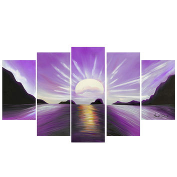 Purple View of Calming Waters Landscape Canvas Wall Art Print