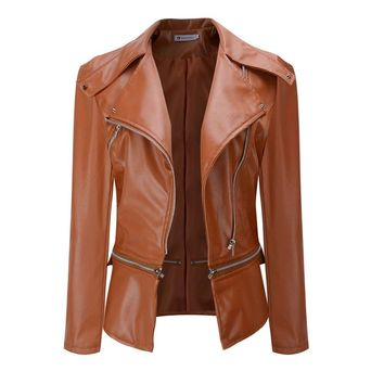 Trendy Sisjuly Faux Leather Jackets Women Biker Jacket Autumn Winter Army Green Khaki Black Brown Zipper PU Coat Motorcycle Outerwear AT_94_13