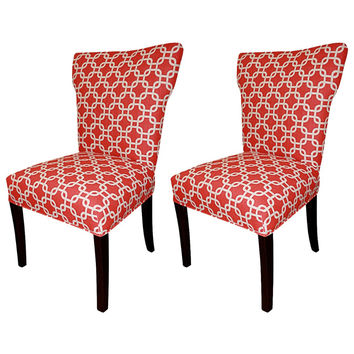 Bella Red Wing Back Chairs (Set of 2) | Overstock.com