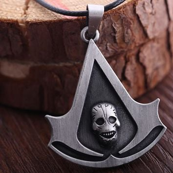 Assassins Creed Cosplay Accessories Metal Black Flag Necklace Costume Pendant