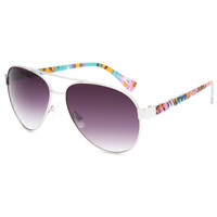 Full Tilt Aztec Aviator Sunglasses Silver One Size For Women 26454214001