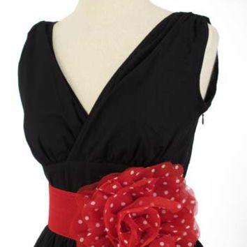 50s Style  Cinch Belts-Red Polka Dot Flower Stretch Cinch Belt
