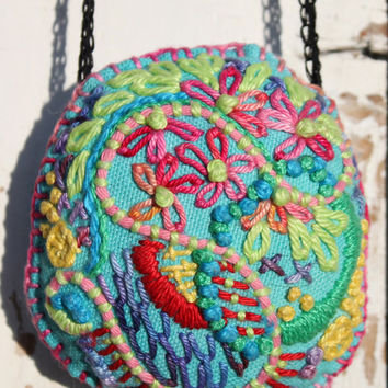 BoHo necklace with hanger, embroidered, cotton in bright colors