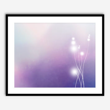 8x10 Landscape Digital Painting Original Abstract Gradient Ombre Background Shades of Purple and Blue Stalks