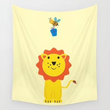 Lion and bee Wall Tapestry by Graf Illustration