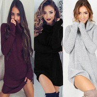PEAPOK8 2017 Women Ladies Winter Clothing Dresses Warm Long Sleeve Knitted Sweater Mini Dress Autumn Winter Clothes Women