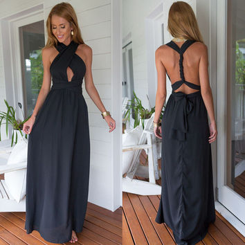 Halter Sleeveless Backless A-Line Maxi Dress